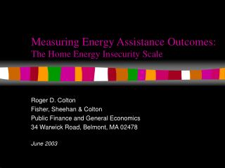 Measuring Energy Assistance Outcomes: The Home Energy Insecurity Scale