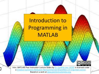 Introduction  to Programming in MATLAB
