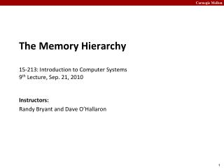 The Memory Hierarchy 15- 213:  Introduction to Computer Systems 9 th  Lecture, Sep. 21, 2010