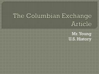 The Columbian Exchange Article