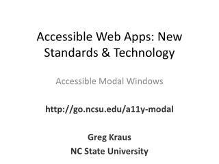 Accessible Web Apps: New Standards & Technology