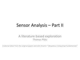 Sensor Analysis – Part II