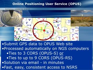 Submit GPS data to OPUS Web site Processed automatically on NGS computers