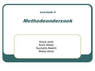 Leertaak 4 Methodeonderzoek