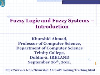 Fuzzy Logic and Fuzzy Systems – Introduction