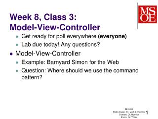 Week 8, Class 3: Model-View-Controller