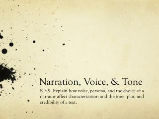 Narration, Voice, & Tone