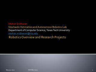 Robotics Overview and Research Projects