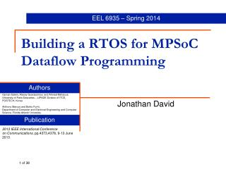 Building a  RTOS for  MPSoC Dataflow Programming