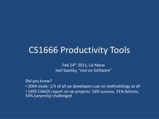 CS1666 Productivity Tools