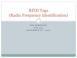 RFID Tags (Radio Frequency Identification)
