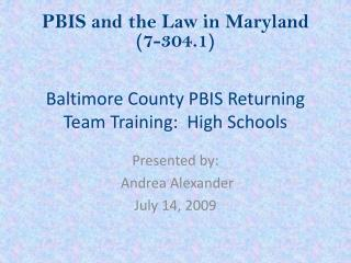 Baltimore County PBIS Returning Team Training:  High Schools