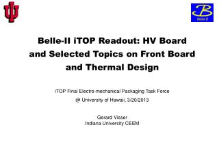 Belle-II  iTOP  Readout: HV Board and Selected Topics on Front Board and Thermal Design