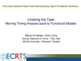 Undoing the Task:  Moving Timing Analysis back to Functional Models