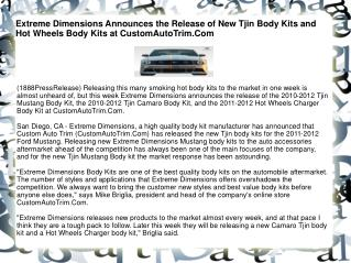 Extreme Dimensions Announces the Release of New Tjin Body Ki