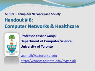 Handout #  6: Computer Networks & Healthcare
