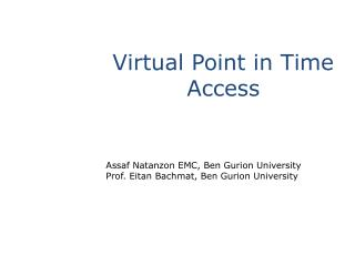 Virtual Point in Time Access
