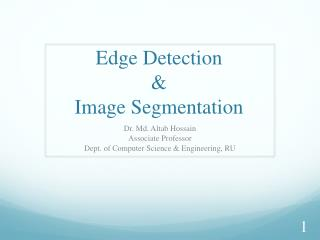 Edge  Detection  &  Image Segmentation