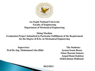 An- Najah  National University Faculty of Engineering Department of Mechanical Engineering