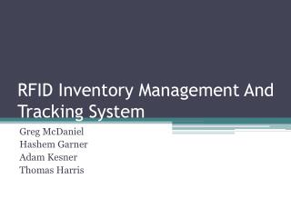 RFID Inventory Management And Tracking System