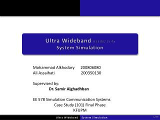 Ultra Wideband  IEEE 802.15.4a System Simulation