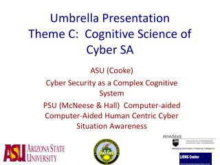 Umbrella Presentation Theme C:  Cognitive Science of Cyber SA