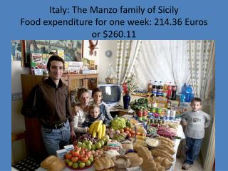 Italy: The  Manzo  family of Sicily Food expenditure for one week: 214.36 Euros or $260.11