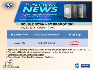 DOUBLE DOWN NBO PROMOTION!! May 21, 2012 – October 31, 2012