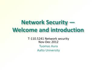 Network Security —  Welcome and introduction