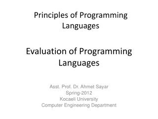 Evaluation of Programming Languages