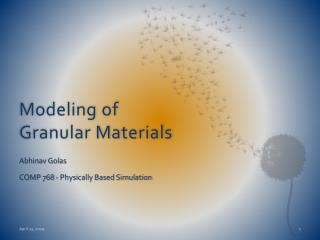 Modeling of Granular Materials