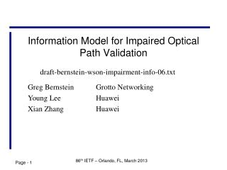 Information Model for Impaired Optical Path Validation