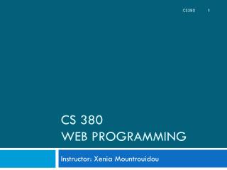 CS 380 Web Programming