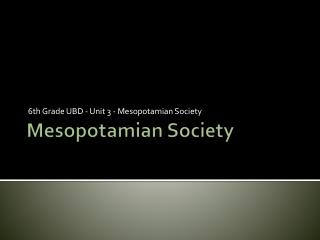 Mesopotamian Society