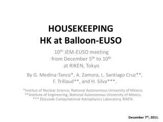 HOUSEKEEPING  HK at Balloon-EUSO