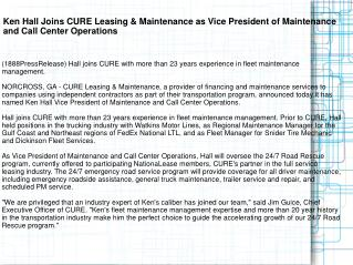 Ken Hall Joins CURE Leasing & Maintenance as Vice President