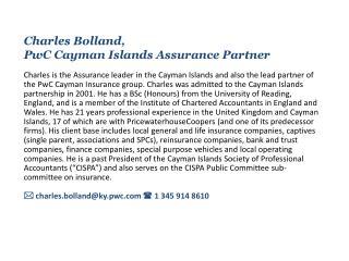 Charles Bolland , PwC Cayman Islands Assurance Partner