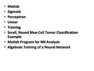 Matlab Sigmoid Perceptron Linear Training Small, Round Blue-Cell Tumor Classification  Example
