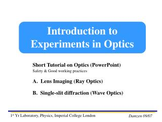 Introduction to Experiments in Optics