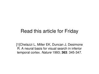 Read this article  for  Friday