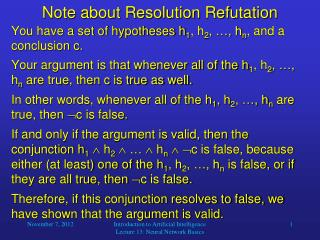 Note about Resolution Refutation