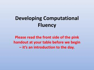 Developing Computational Fluency