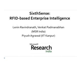 SixthSense: RFID-based Enterprise Intelligence