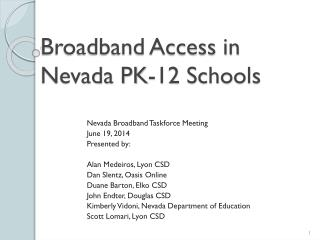 Broadband Access in Nevada PK-12 Schools