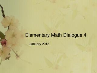 Elementary Math Dialogue 4
