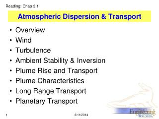 Atmospheric Dispersion & Transport