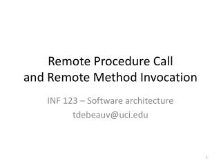 Remote Procedure Call and Remote Method Invocation