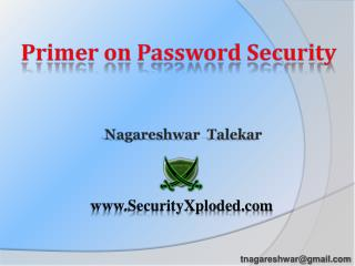 Primer on Password Security