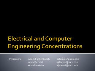Electrical and Computer Engineering Concentrations