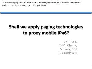 Shall we apply paging technologies to proxy mobile IPv6?